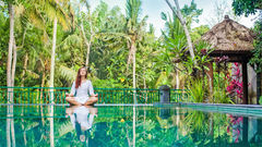 Gröna och lugna omgivningar i Ubud, Bali.
