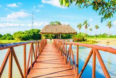 Träbro över en vacker insjö i Vinales, Kuba.