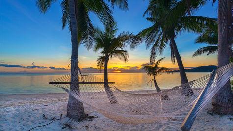 Häng i en hängmatta i solnedgången i december.